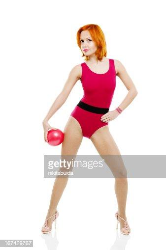 Modelo de Fitness com Bola : Foto de stock