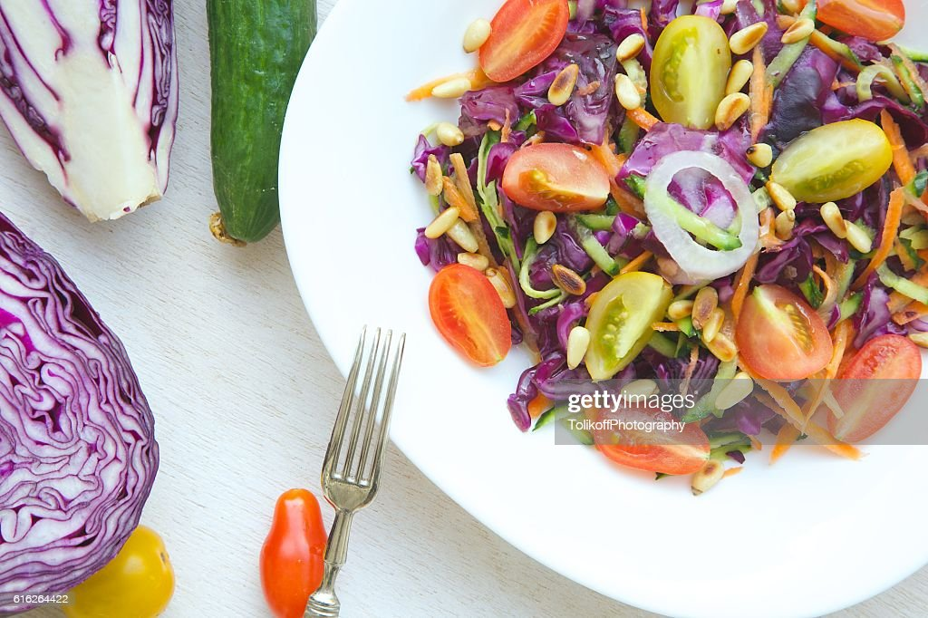 Fitness salad with purple cabbage : Stock Photo