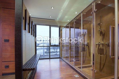 Fitness spa locker and shower room stock photo thinkstock