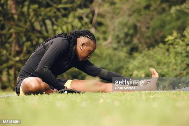 Fitness woman exercising at park