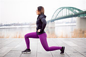 Fitness stretching outdoor