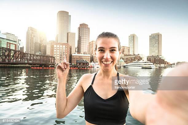 Fitness Woman take a selfie in Boston