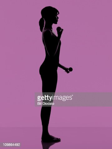 FItness work out on clean Purple Background : Stock Photo