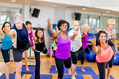 A multi-aged and multi-ethnic group of adults posing together on their yoga mats in a fitness, stretching, or yoga class at a dance studio or health club.