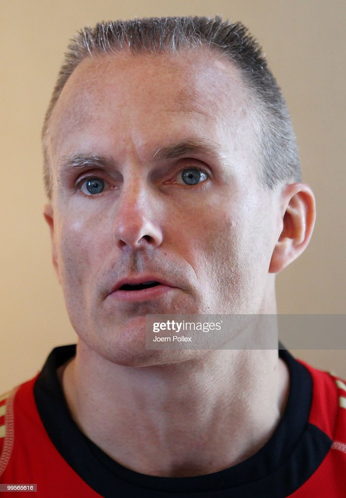 Fitnesscoach Marc Verstegen of Germany talks to the media during a press conference of the German National Football team at Verdura Golf and Spa Resort is pictured on May 15, 2010 in Sciacca, Italy.