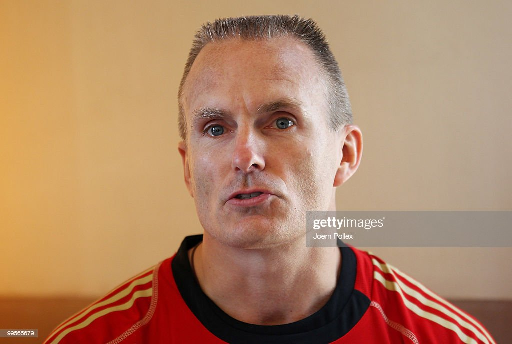 Fitnesscoach Marc Verstegen of Germany talks to the media during a press conference of the German National Footabll team at Verdura Golf and Spa Resort is pictured on May 15, 2010 in Sciacca, Italy.