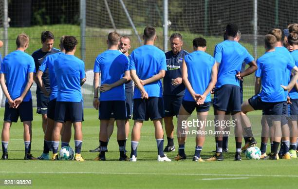 Fitnesstrainer Henrik Kuchno assistant coach Admir Hamzagic and coach Pal Dardai of Hertha BSC during the training on august 9 2017 in Berlin Germany