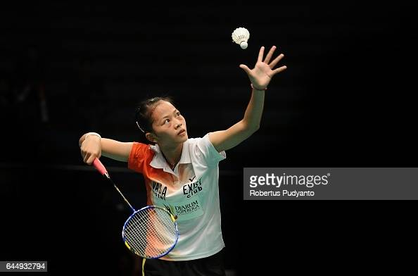 Fitriani of Tjakrindo Masters Indonesia competes against Hanna Ramadini of Mutiara Cardinal Indonesia during the Djarum Superliga Badminton 2017 at...