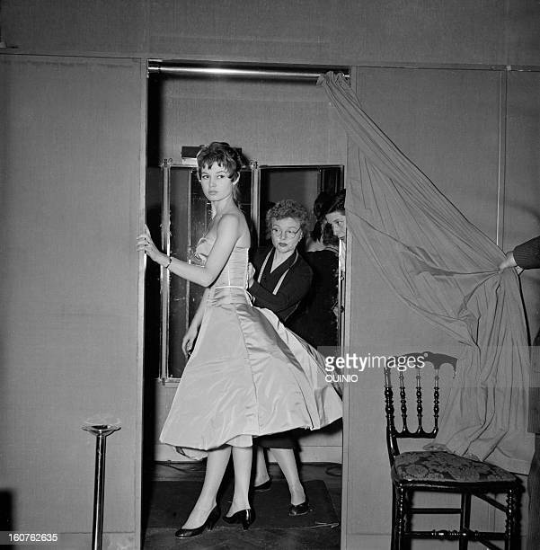 Fitting Session for actress Brigitte Bardot circa 1950 in Paris France