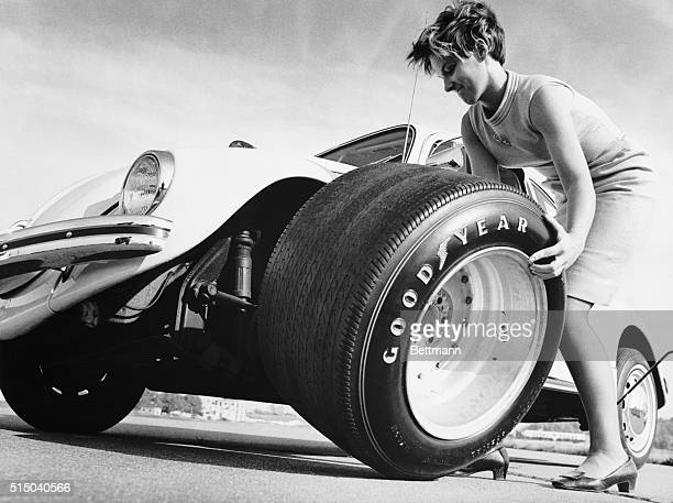 Fitting the world's largest racing tire on a small foreign car presents a big problem for Cheryl Blaurock The race tire 15inches in width is about...