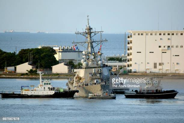 USS Fitzgerald arrives at Yokosuka Port after a collision with container ship off Shimoda on June 17 2017 in Yokosuka Kanagawa Japan Seven US Navy...