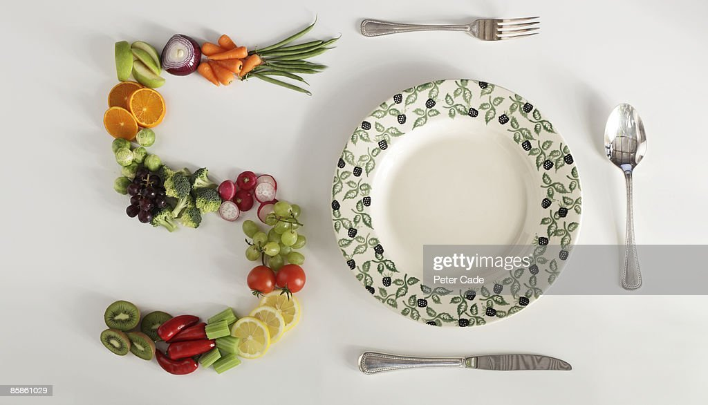 five a day fruit and veg with plate : Stock Photo