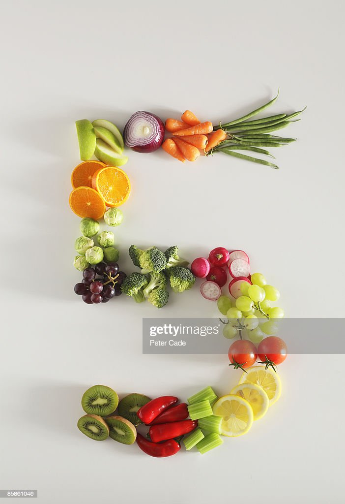 five a day fruit and vegetables : Stock Photo
