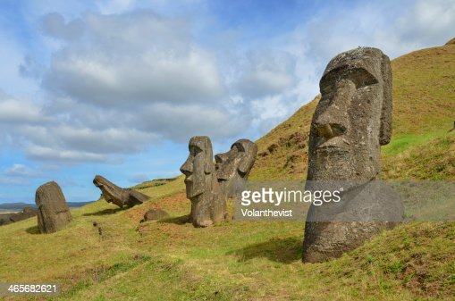 Five ancient moai carved in stone