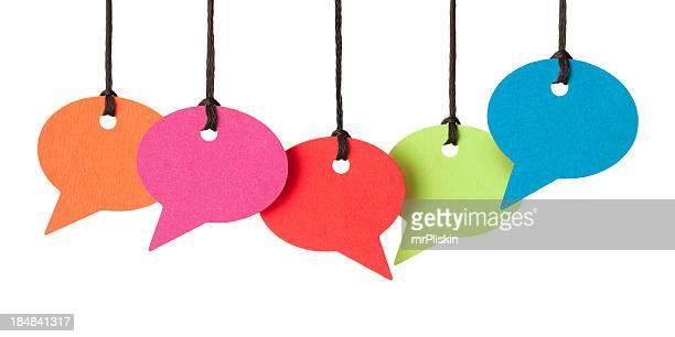 Cinco blanco discurso burbujas montaje de rosca
