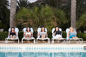 Five businesswomen using laptop at poolside