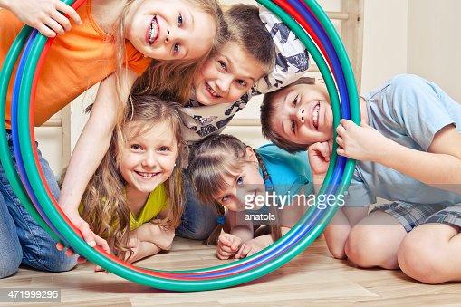 Five cheerful kids : Stock Photo