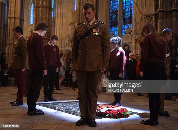 Five civilians and five members of the military undertake a Vigil at Grave of the Unknown Warrior after the Service on the Eve of the Centenary of...