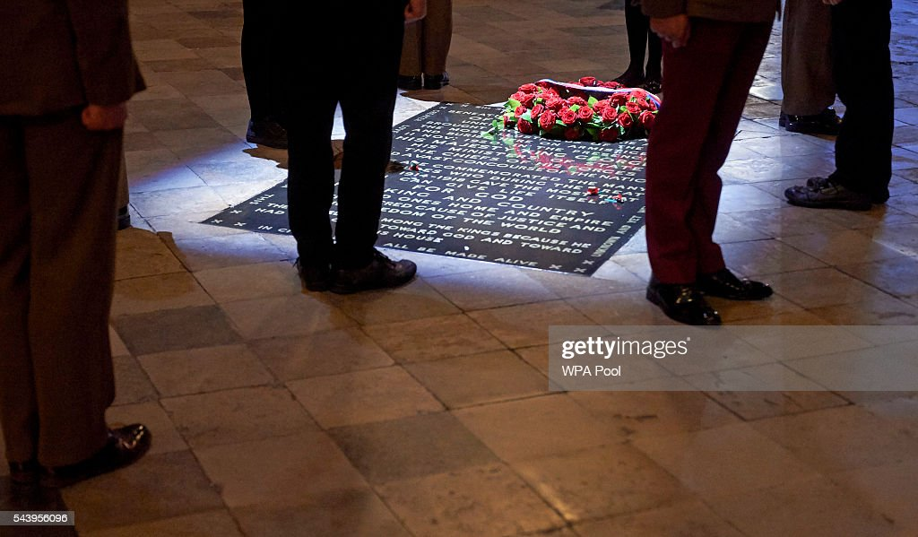 Five civilians and five members of the military undertake a Vigil at Grave of the Unknown Warrior after the Service on the Eve of the Centenary of the Battle of the Somme at Westminster Abbey on June 30, 2016 in London, United Kingdom.