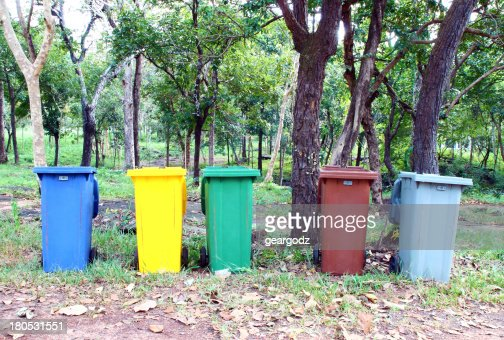 five colors recycle bin : Stock Photo