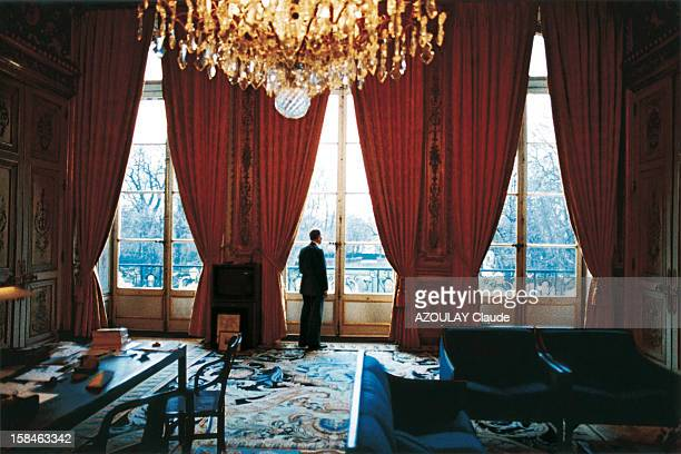 five days before the beginning of the Gulf war president Francois Mitterrand in his office at the Elysee decorated by Pierre Paulin on January 10 1991