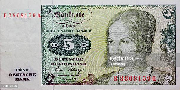 A five Deutsche Mark bill the former currency of Germany is pictured in New York Thursday June 16 2005