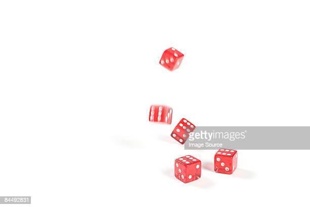 Five dice rolling