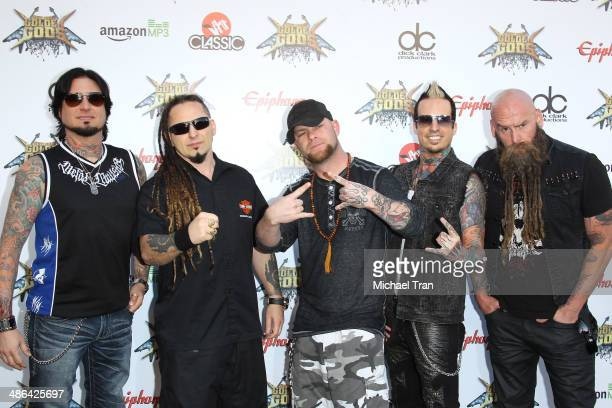 Five Finger Death Punch arrive at the 6th Annual Revolver Golden Gods Award Show held at Club Nokia on April 23 2014 in Los Angeles California