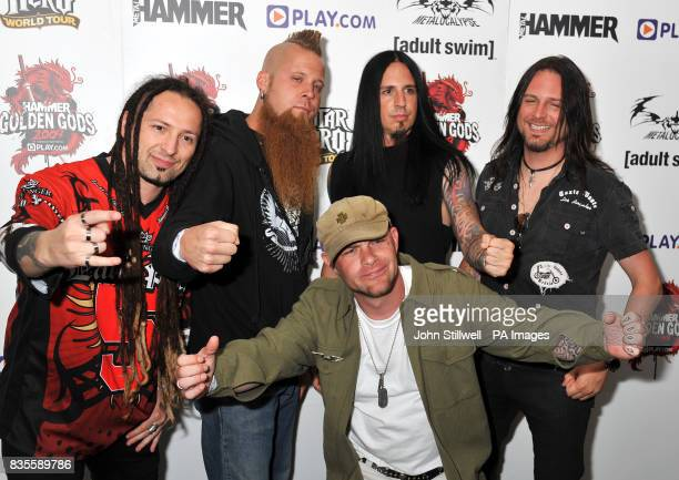 Five Finger Death Punch arrive at the Indigo concert venue for the Metal Hammer Golden Gods awards at the O2 Arena in Greenwich south East London