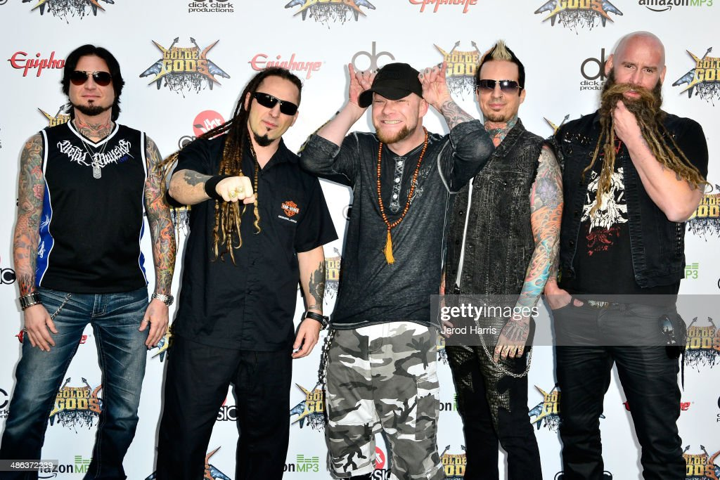 Five Finger Death Punch arrives at the 2014 Revolver Golden Gods Awards at Club Nokia on April 23, 2014 in Los Angeles, California.