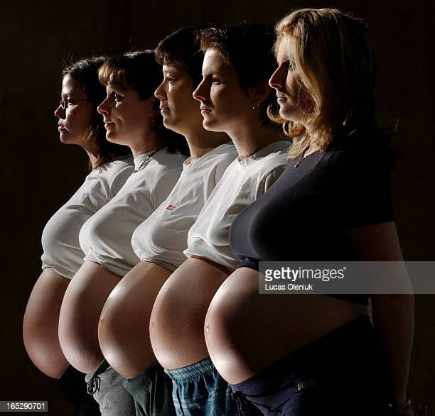 Five first time mothers of the Baby and Me prenatal yoga class held at a studio on Danforth Ave All 78 months pregnant from front to back Sharon...