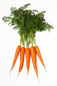 Five fresh organic carrots with green tops.