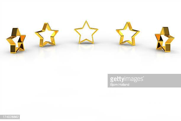 Five golden stars on white background