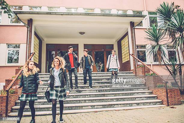 Five Happy Turkish Students Leaving School, Istanbul
