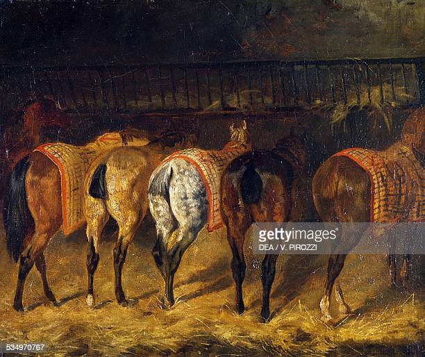 Five horses seen from behind in a stable 18201822 by JeanLouis Theodore Gericault oil on canvas 38 x 46 cm France 19th century Paris Musée Du Louvre