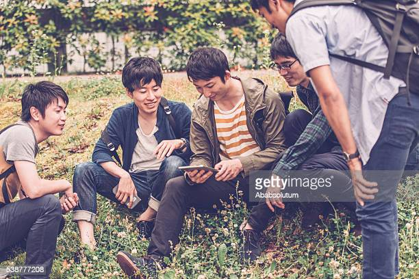5 日本人学生をデジタルタブレット、キャンパスパーク、京都,日本