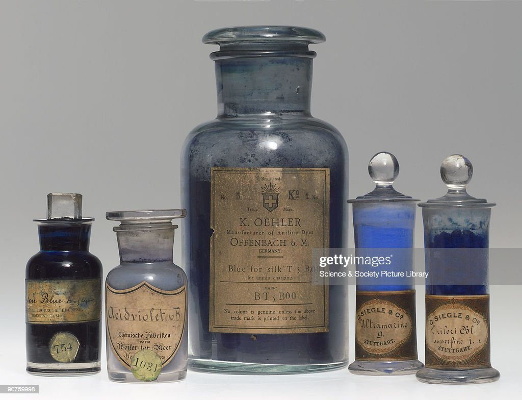 Five jars containing blue synthetic colorants. Ketone Blue B (liquid) manufactured by Farbwerke vormals Meister, Lucius & Brüning of Höchst-am-Main, Germany; Acidviolet B by Chemische Fabriken vormals Weiler ter Meer, Uerdingen-am-Rhein, Germany; Blue for silk T5 B00 by K. Oehler, Offenbach-bei-Main, Germany; Ultramarine 00 by G. Siegle & Co. of Stuttgart; Milori Bl[au] superfine by Siegle. Acid Violet B was a aniline dye introduced by Bayer in 1883. Milori blue is chemically the same as Prussian Blue. Meister, Lucius & Brüning was founded in 1863 as Meister & Lucius; Adolf Brüning became a partner in 1867. It became a limited company in 1880 and was generally known as Farbwerke Hoechst. Joined I.G. Farbenindustrie AG in 1925 and was refounded in 1953 as Farbwerke Hoechst AG. Weiler ter Meer was founded by J. W. Weiler in 1861 and taken over by Edmund ter Meer in 1896. It became part of I.G. Farbenindustrie AG in 1925 and part of Bayer AG when it was refounded in 1951. In 1873 the Stuttgart firm Heinrich Siegle (was acquired by BASF. In 1889 Gustav Siegle (the son of Heinrich Siegle) bought the buildings back and started the production of mineral pigments and lacquers. Part of a collection of late nineteenth and early twentieth century colorants transferred from the Colour Museum, Bradford, in 1985.