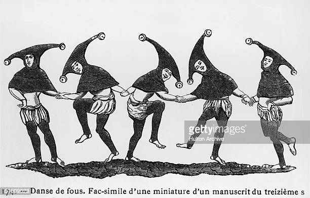 Five jesters perform a merry dance perhaps an early version of the English Morris Dance Entitled 'Danse de Fous' copy of a miniature from a 13th...