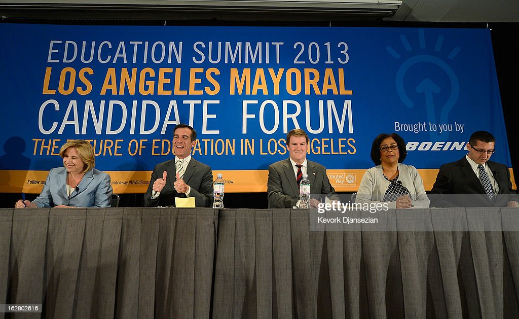 Five leading candidates seeking to succeed Los Angeles Mayor Antonio Villaraigosa, (L - R) City Controller Wendy Greuel, City Council member <a gi-track='captionPersonalityLinkClicked' href=/galleries/search?phrase=Eric+Garcetti&family=editorial&specificpeople=635706 ng-click='$event.stopPropagation()'>Eric Garcetti</a>, former talk show host and prosecutor Kevin James, Council member Jan Perry and former technology executive Emanuel Alberto Pleitez attend a panel discussion on improving schools during the United Way of Greater Los Angeles' Education Summit at the Los Angeles Convention Center on February 27, 2013 in Los Angeles, California. Los Angeles Mayor Antonia Villaraigosa was honored during the summit for championing education reform.