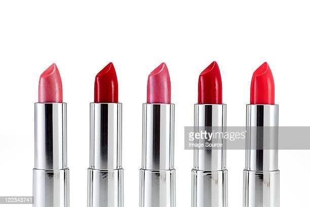 Five lipsticks in a row