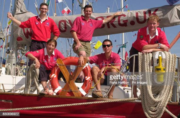 Five of 16 members of Army's Antarctic Expedition aboard the John Laing moored at the Festival of the Sea in Portsmouth Docks They are from left...