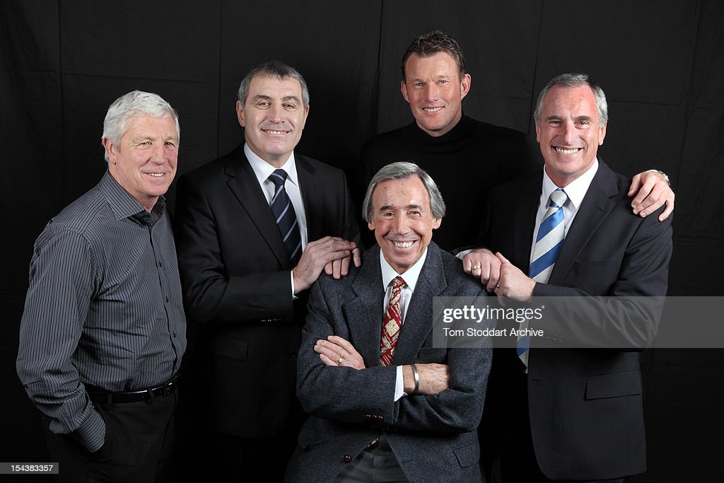 Five of England's greatest goalkeepers gathered together for the first time, London, January 2010. Left to right: Jimmy Montgomery, Peter Shilton, Gordon Banks (front), Dave Beasant and Ray Clemence. All of the keepers had distinguished careers and made match-winning saves in crucial games for their clubs and country.