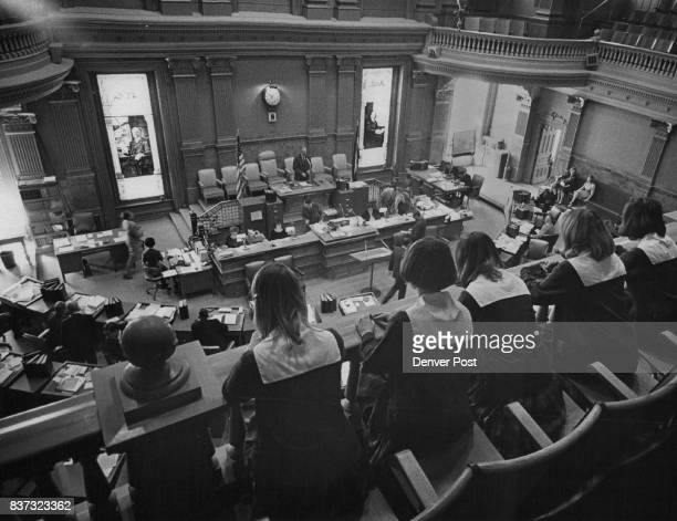 Five of the girls listen to a session of the State Senate They are Michelle Manning Arapahoe County Cheryl Fink 10676 W Tufts Place Morrison Deborah...