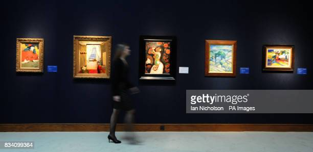 Five paintings which feature in a forthcoming art sale at Christie's auctioneers From left Danseuse espagnole by Pablo Picasso Interieur a Nice by...