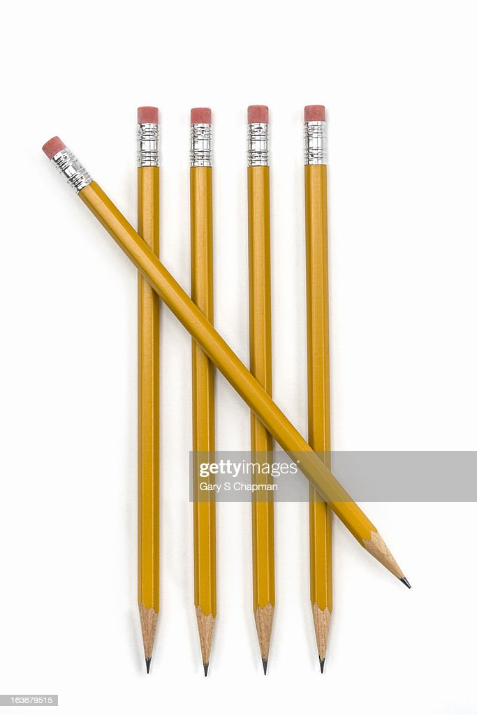 Five pencils in tally mark shape