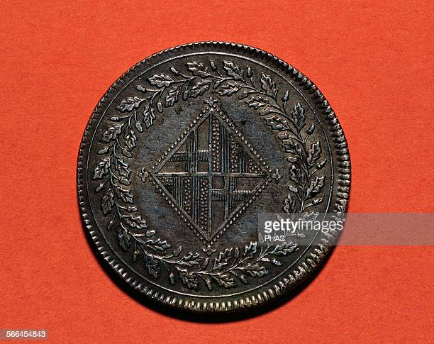 Five pesetas Silver coin minted in Barcelona 1810 Observe