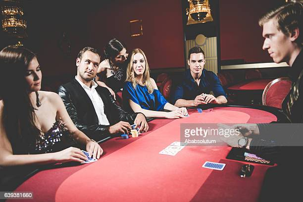 Five Poker Players and Dealer at the Casino, Portorose, Europe