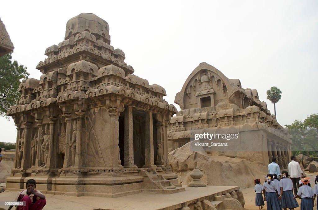 Five Rathas in Mahabalipuram, Tamil Nadu, India, Asia : Stock Photo