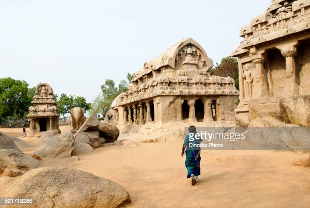 Five Rathas Pancha Rathas temple created in 7th century, Mahabalipuram Mamallapuram, Tamil Nadu, India