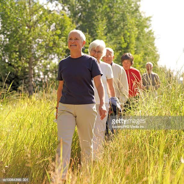 Five senior people walking through grass